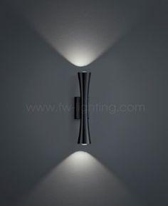 Baulmann Leuchten LED Up/Down Wall light. Black painted finish 64.143.69 & Baulmann Leuchten LED UP/Down wall light. Polished brass and painted ...
