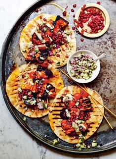 Harissa aubergine kebabs with cucumber, red onion, and mint relish
