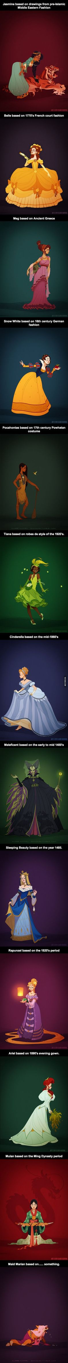 Disney Princesses Based on Historical Period Fashion: