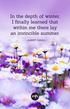 """""""In the depth of winter, I finally learned that within me there lay an invincible summer. Winter Love Quotes, Summer Quotes, Encouragement Quotes, Wisdom Quotes, Life Quotes, Attitude Quotes, Clever Quotes, Funny Quotes, Qoutes"""