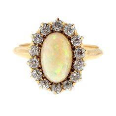 Antique 1900 1.85ct Opal Old Mine Diamond 14k Ring - petersuchyjewelers
