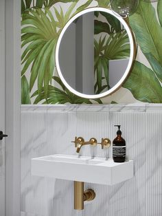 Beautiful Breathtaking Powder Room Ideas - Avionale Design 10 Gorgeous and Modern Powder Room Design Ideas We shares powder room design and decorating ideas in every style, including vanities, sinks, mirrors, decor and more. Grey Bathroom Tiles, Mirror Bathroom, Bathroom Small, Tile Mirror, Mirror Vanity, Design Bathroom, Simple Bathroom, Bathroom Colors, Bathroom Vanities