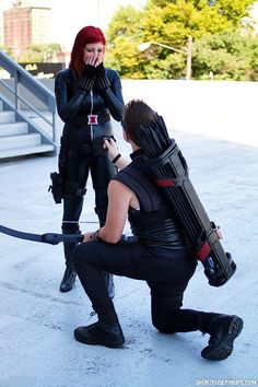 A Hawkeye Cosplayer Proposes To Black Widow