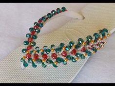 Trama de pérolas com o laço Cris Lopes - YouTube Beaded Shoes, Beaded Jewelry, Beaded Bracelets, Bead Crochet, Beaded Embroidery, Flip Flops, Shoes Sandals, Slippers, Beads