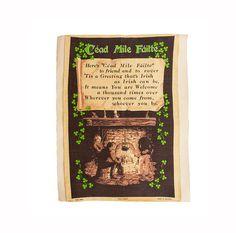 Saint Patricks Day Irish Linen Tea Towel Oversize Vintage Cead Mile Faitle Shamrocks Irish Linen Ireland Looms Frameable Bar Decor Mid Century