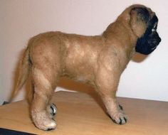 One of a Kind Needle Felted Mastiff Dog Figure