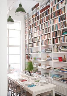Floor to ceiling bookshelves. Love.