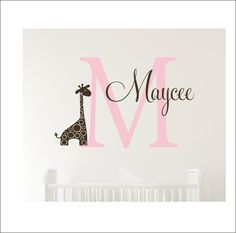 Personalized Giraffe Wall Decal Set Vinyl by CustomVinylbyBridge
