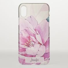 Pretty Pink Peony Watercolor Flower Monogram Name iPhone X Case / floral iPhone case / afflink Pink Peonies, Peony, Pink Flowers, Floral Iphone Case, White Elephant, Day Up, Watercolor Flowers, Iphone Case Covers, Pretty In Pink