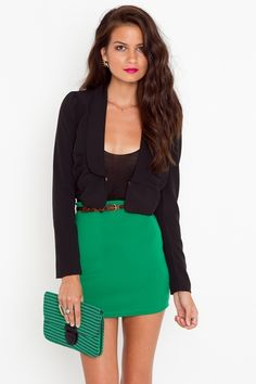 like the green skirt with cheetah belt. not crazy about the rest of the outfit