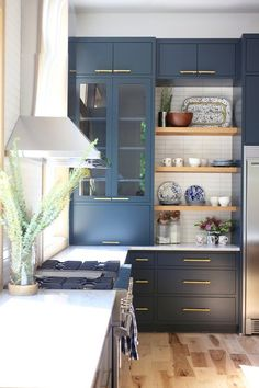 Blue Kitchen Cabinets, Kitchen Cabinet Colors, Cabinet Decor, Kitchen Colors, Kitchen Decor, Kitchen Ideas, Cabinet Design, Birch Cabinets, Pantry Cabinets