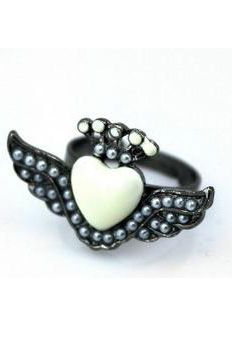 #SheInside Black Bead Heart Wing Ring - Sheinside.com