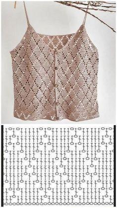 Débardeurs Au Crochet, Slip Stitch Crochet, Pull Crochet, Gilet Crochet, Crochet Blouse, Crochet Stitches, Crochet Square Patterns, Crochet Diagram, Crochet Designs