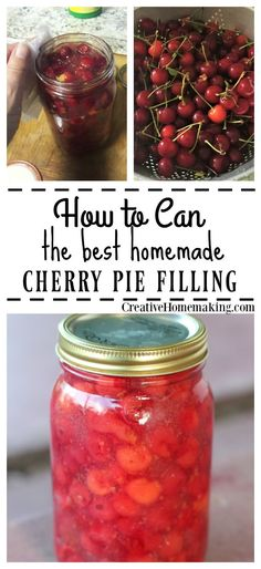 Easy recipe for making and canning homemade cherry pie filling.
