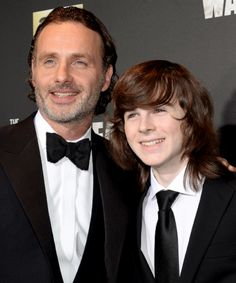 Andrew Lincoln and Chandler Riggs at The Walking Dead season 6 premiere at Madison Square Garden