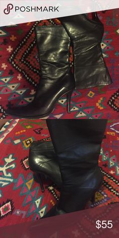 Black pointy Italian leader boots 39 (9) Black pointy Italian leader boots 39 (9) low knees , 10 inc tall , 4 inc heel . Shoes Heeled Boots