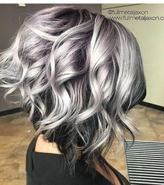 Hairstyles for silver hair hottest curly lob hairstyle silver to black hair color messy 2018 long hair trends, Hairstyles For Silver Hair, brilliant Trendy Hair Cuts inspiration Curly Lob, Curly Hair Styles, Wavy Hair, Updo Curly, Wavy Curls, Curly Short, Curls Hair, Hair Ponytail, Messy Hair