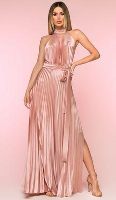 6255fa964b9a Nicole Bakti Long Pleated Choker dress. Evening DressesBall ...