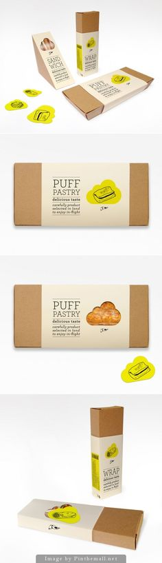 """Newrest packaging designed by Antonio Dominguez """"The leading European in-flight catering company's goal was to create an unbranded packaging to communicate an ecological and healthy product to introduce in the Scandinavian air market. The packaging design consists in cardboard boxes with transparent windows and simple paper bands to confer unity. Clouds can be removable from de paper bands to show the product inside."""""""