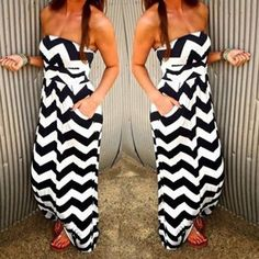 Sexy Summer Strapless Wave Print Pocket Design Maxi Dress Style: Sexy Casual Or Club Material: Polyester Silhouette: A-Line Dresses Length: Floor-Length Neckline: Strapless Sleeve Length: Sleeveless P