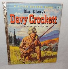 Vintage Davy Crockett Little Golden Book 1955 1st Edition Walt Disney's Frontier