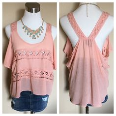 2b bebe cold shoulder top Super cute spring top. Looks perfect with blue or white denim and wedges. Listing is for the top only. bebe Tops Tank Tops