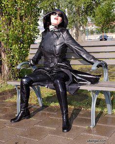 Black Rubber Raincoat, Hat & Boots