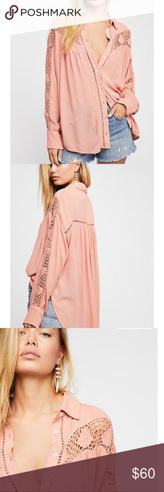 672e676ceb71 Free People Katie Bird Buttondown In a sheer and gauzy fabrication, this  relaxed buttondown features