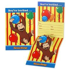 Amazon.com: Curious George Invitations (8) Party Supplies: Toys & Games