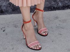 Dear Frances | NATALIE Heels | burnt red suede + blush pink transparent mesh strap