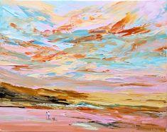 Summer at the Beach: 'Summer at the Beach' original acrylic painting. Stretched canvas on timber frame. Imapsto painted with a palette… Bird Artists, Irish Landscape, Irish Art, Seascape Paintings, Beach Art, Figurative Art, Pet Birds, Watercolor Art, Original Art