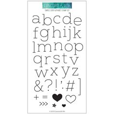 stamp set with 39 images including all letters of the alphabet, punctuation, a bracket and other fun embellishments like hearts, flower and arrows. Coordinates with Simple Serif Alphabet dies NOTE: the letter n is also used as the letter u. Cute Fonts Alphabet, Handwriting Alphabet, Alphabet Stamps, Simple Calligraphy Alphabet, Letter Fonts, Cursive, Simple Lettering, Hand Lettering Fonts, Typography