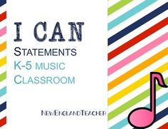 """This set of """"I Can Music Statements"""" includes over 100 """"I Can"""" statements for music educators of grades K-5. Below is a list of the I Can statements included:Clap the beatMarch to the beatSing highSing lowDance to the beatIdentify fast musicIdentify slow musicIdentify loudIdentify softDifferentiate rhythm and beatMove to the beatIdentify fast and slow musicSing Sol - MiSing Sol-Mi-LaSing Sol-Mi-La-DoSing Sol-Mi-La-Do-ReSing FaSing TiSing melodic patternsSing harmoniesUse solfege hand…"""