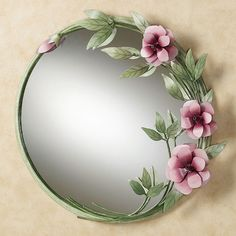 Pink rose wall mirror
