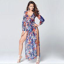 summer new Korean long sleeve sexy dress Women casual Bohemian floral beach  chiffon dress Long Dresses b498f1913f1b