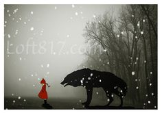 "Red riding hood art, Grimm's Fairy tales inspired little red riding hood series, This is print 2. ""Naivety"" prints in oil paint style. Archival quality, Giclee print on ultra premium luster photo pape"