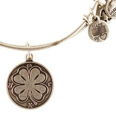 Alex and Ani Four Leaf Clover Expandable Wire Bangle Russian Silver