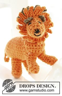 "Free pattern! Crochet DROPS lion in ""Safran"""