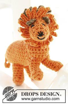 """Free pattern! Crochet DROPS lion in """"Safran"""""""