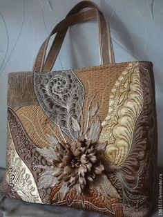 """Купить """"Капучино """" - коричневый, какао, кофе, стежка, лоскутная сумка, стеганная сумка"""