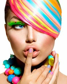 Photo about Beauty Girl Portrait with Colorful Makeup, Hair and Accessories. Image of accessory, hairstyle, colour - 32449794 World Of Color, Color Of Life, Foto Fashion, My Hairstyle, Hairstyles, Foto Art, We Are The World, Rainbow Hair, Rainbow Candy