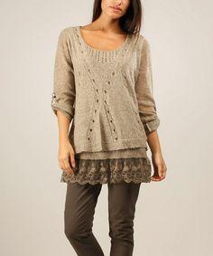 Beige Lace Mohair-Blend Three-Quarter Sleeve Sweater   zulily