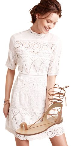 Little white dress paired with neutral sandals, perfect for spring