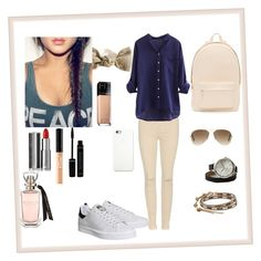 """""""College student"""" by manakda on Polyvore featuring J Brand, Gina Made It, American Eagle Outfitters, Chan Luu, Ray-Ban, PB 0110, adidas, Maybelline, Givenchy and Apple"""