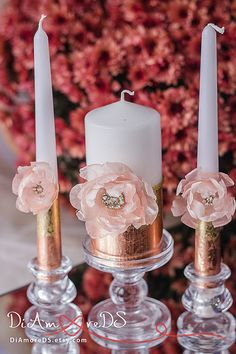 Bronze & gold wedding unity candles, unique wedding gifts, collection Art Deco, votive candles, blush pink flower, luxury traditional, 3pcs