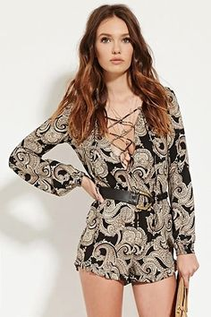 Ornate Lace-Up Front Romper | Forever 21 #thelateset