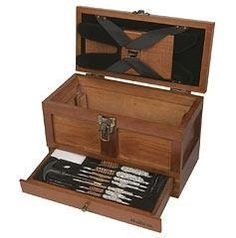 Outers 25 - Piece Universal Wood Gun Cleaning Tool Chest (.22 Caliber and up) by Outers. $38.99. Outers is excited to offer a full line of attractive, wooden specialty kits to perform cleanings quickly and effectively. Each kit is specifically created to work on all different calibers and gauges, as well as for all gun types, and boast an attractive full wood grain appearance for years of enjoyment.    This handy chest serves as a two-in-one gun care product. Not o...