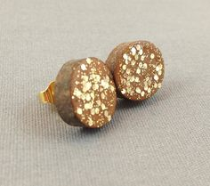 gold glitter wooden slice studs by thebeadsmiths on Etsy, $6.00