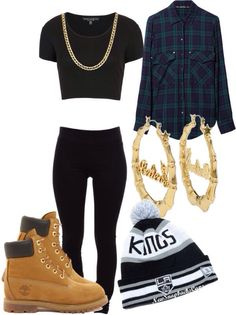 Crop top, black jeans, bf shirt, bini, timberlands and gold jewellery make for an amazing outfit for an afternoon out with friends.
