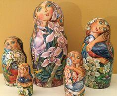 Museum Quality Artist Made Rare Matryoshka Fairies Birds Bugs Nesting Doll